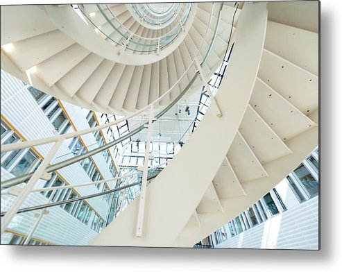 Steps Metal Print featuring the photograph Spiral Staircase Inside Office Complex by Blurra