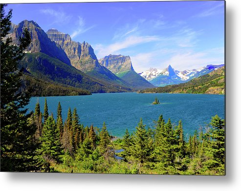 Scenics Metal Print featuring the photograph St. Mary Lake, Glacier National Park by Dennis Macdonald