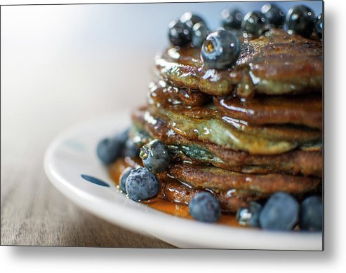 Unhealthy Eating Metal Print featuring the photograph Still Life Of Blueberry Pancakes With by Matt Walford