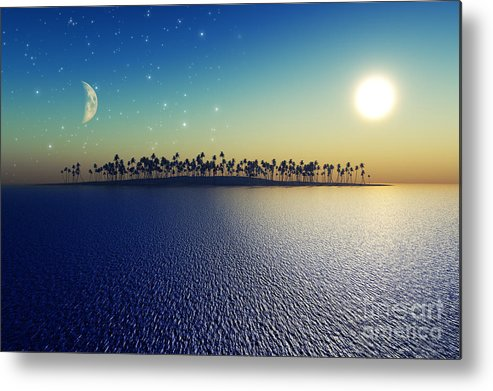 Islands Metal Print featuring the digital art Sun And Moon by Aleksey Tugolukov