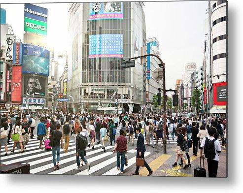 Crowd Metal Print featuring the photograph Sunny Day In Shibuya by Xavierarnau