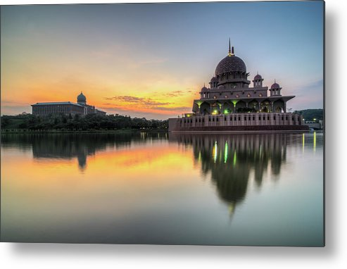 Tranquility Metal Print featuring the photograph Sunrise | Masjid Putra, Putrajaya | Hdr by Mohamad Zaidi Photography