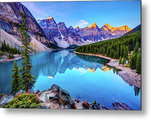 Tranquility Metal Print featuring the photograph Sunrise At Moraine Lake by Wan Ru Chen
