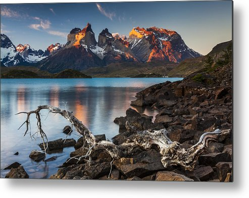 Scenics Metal Print featuring the photograph Sunset in Torres del Paine National Park, Chile by Anton Petrus