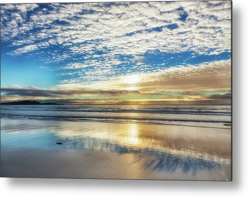 Tranquility Metal Print featuring the photograph Sunset On Carmel Beach, California by Alvis Upitis