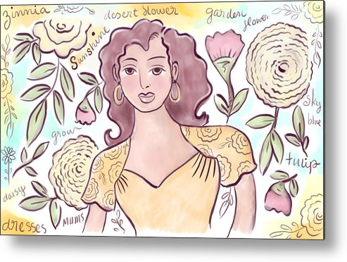 Woman Metal Print featuring the digital art Sunshine Flowers by Elaine Jackson