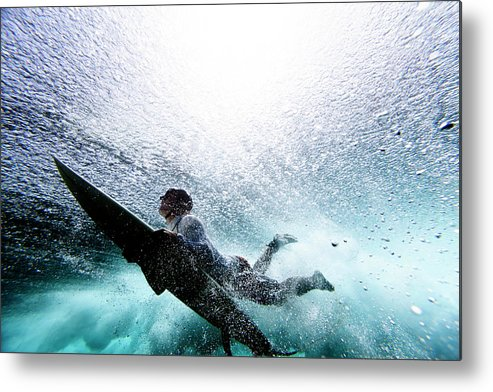Expertise Metal Print featuring the photograph Surfer Duck Diving by Subman