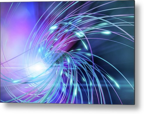 Curve Metal Print featuring the digital art Swirl Of Lines With Glowing Ends by Maciej Frolow