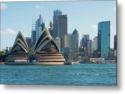 Built Structure Metal Print featuring the photograph Sydney Opera House And Waterfront by Marco Simoni