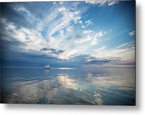 Tranquility Metal Print featuring the photograph Tall Ship On The Big Lake by Rudy Malmquist