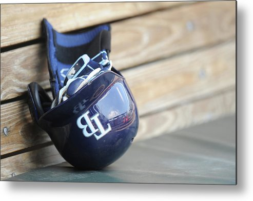 Headwear Metal Print featuring the photograph Tampa Bay Rays V Baltimore Orioles - by Mitchell Layton