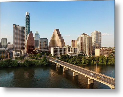 Built Structure Metal Print featuring the photograph Texas Skyline During Golden Hour by Peter Tsai Photography - Www.petertsaiphotography.com