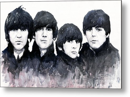 Watercolour Metal Print featuring the painting The Beatles by Yuriy Shevchuk