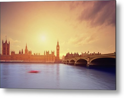 Clock Tower Metal Print featuring the photograph The Big Ben And Parliament In London by Mammuth