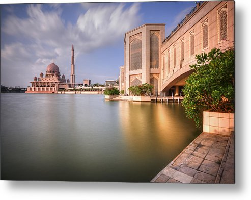 Tranquility Metal Print featuring the photograph The Bridge And The Mosque by Khasif Photography