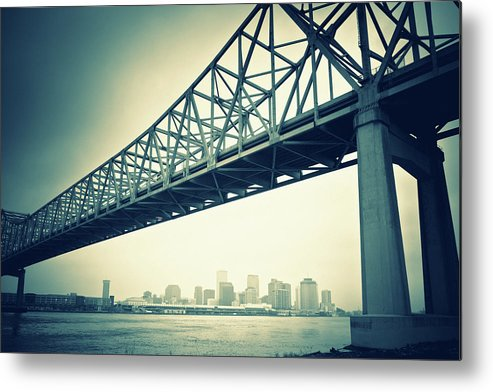 Desaturated Metal Print featuring the photograph The Crescent City Connection In New by Moreiso
