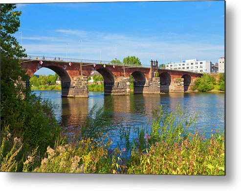 Roman Metal Print featuring the photograph The Roman Bridge Over Mosel River In by Werner Dieterich