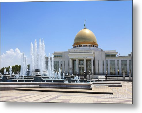 Turkmenistan Metal Print featuring the photograph The Turkmenbashi Palace in Independence Square in Ashgabat Turkmenistan by Robert Preston