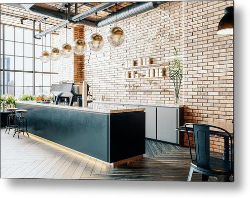 New Business Metal Print featuring the photograph Third Wave Coffee Shop Interior by Imaginima