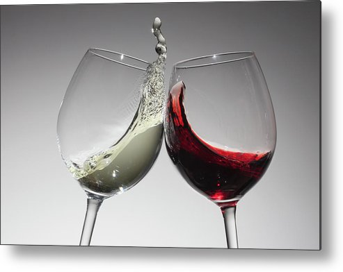 Alcohol Metal Print featuring the photograph Toasting With Glasses Of Water And Red by Dual Dual