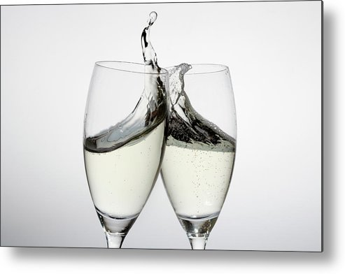 Alcohol Metal Print featuring the photograph Toasting With Two Glasses Of Champagne by Dual Dual