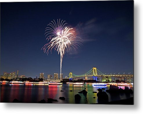 Firework Display Metal Print featuring the photograph Tokyo Bay Fireworks by Photography By Zhangxun