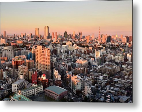 Tokyo Tower Metal Print featuring the photograph Tokyo Cityscape At Sunset by Keiko Iwabuchi