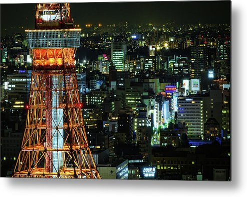 Tokyo Tower Metal Print featuring the photograph Tokyo Skyline With Tokyo Tower At Night by Sandro Bisaro