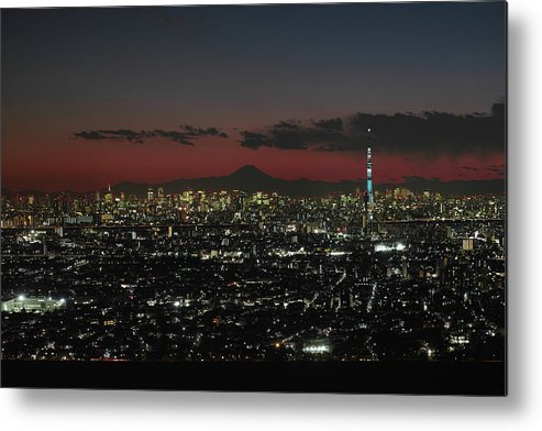 Tokyo Tower Metal Print featuring the photograph Tokyo Skytree, Fuji, And Tokyo Tower by I Love Photo And Apple.