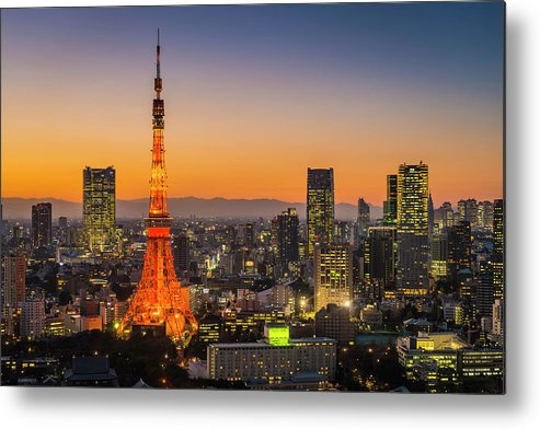 Tokyo Tower Metal Print featuring the photograph Tokyo Tower Skyscrapers Neon Futuristic by Fotovoyager
