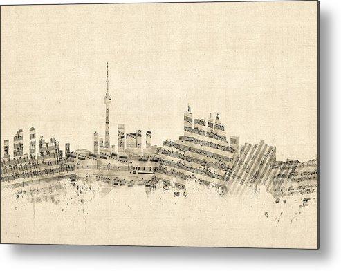 Toronto Metal Print featuring the digital art Toronto Canada Skyline Sheet Music Cityscape by Michael Tompsett