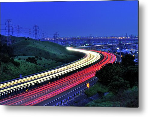 Curve Metal Print featuring the photograph Traffic Trails At High Way by Photo By Vincent Ting