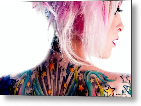 Tattoo Girl Metal Print featuring the digital art Tribute to Suicide Girls 3 by Gabriel T Toro