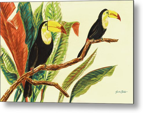 Toucans Metal Print featuring the painting Tropical Toucans II by Linda Baliko