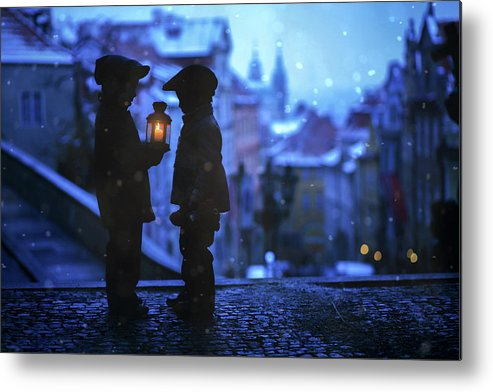 Night Metal Print featuring the photograph Twinkle Twinkle Little Flame by Tatyana Tomsickova