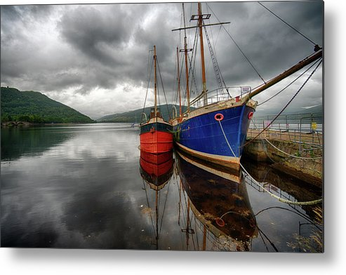 Tranquility Metal Print featuring the photograph Two Ships At The Cost Of Loch Fyne by Emad Aljumah