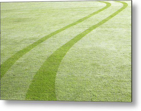 Curve Metal Print featuring the photograph Tyre Tracks In Dew by Ezra Bailey