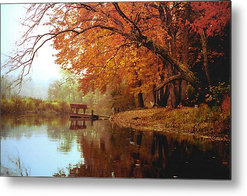 Landscape Metal Print featuring the photograph Upper Charles River in Autumn by Roger Soule