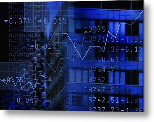 Financial Figures Metal Print featuring the photograph USA, New York, New York City, stock quotes reflecting on window by Tetra Images