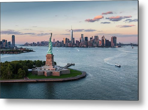 Tourboat Metal Print featuring the photograph Usa, New York State, New York City by Tetra Images