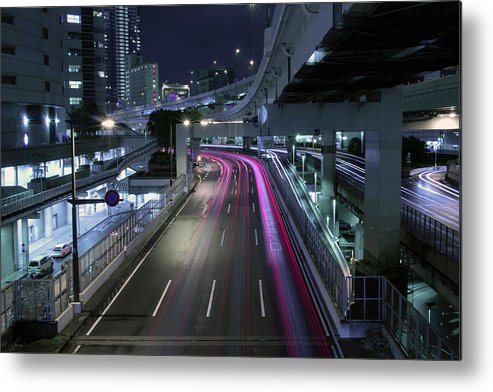 Yokohama Metal Print featuring the photograph Vehicle Light Trails On National Route 1 by Digipub