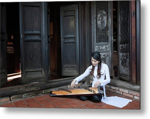 Three Quarter Length Metal Print featuring the photograph Vietnamese Ao Dai Playing Orchestra by Jethuynh