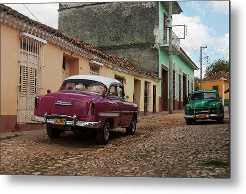 Latin America Metal Print featuring the photograph Vintage American Cars In Cuba by John Elk Iii