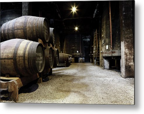 Desaturated Metal Print featuring the photograph Vintage Porto Wine Cellar by Vuk8691