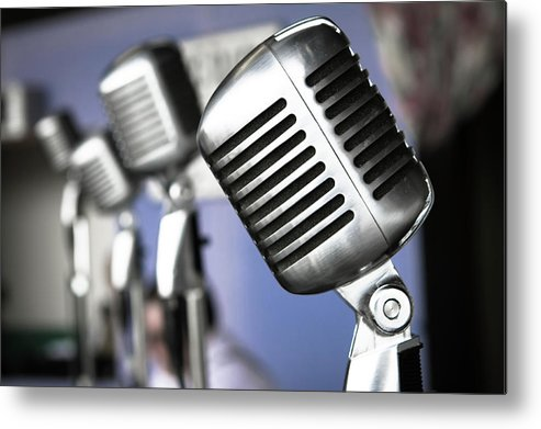 Music Metal Print featuring the photograph Vintage Standing Radio Microphones by Photo By Brian T. Evans