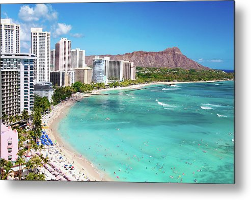 Water's Edge Metal Print featuring the photograph Waikiki Beach by M Swiet Productions
