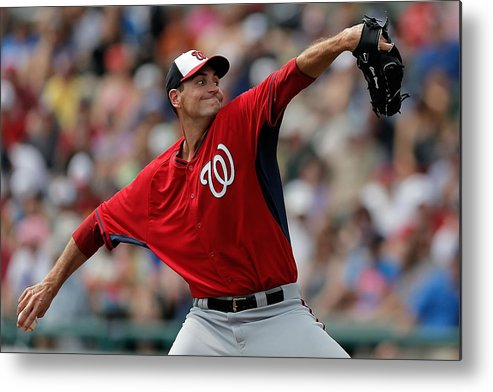 American League Baseball Metal Print featuring the photograph Washington Nationals V Atlanta Braves by Stacy Revere