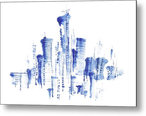 White Background Metal Print featuring the digital art Water-and-ink Cityscape by Bji/blue Jean Images