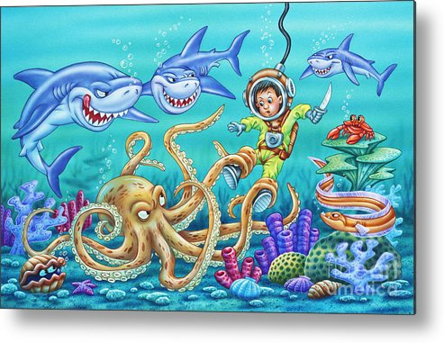 Octopus Metal Print featuring the painting Water Warrior by Phil Wilson