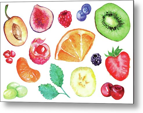 Cherry Metal Print featuring the digital art Watercolor Exotic Fruit Berry Slice Set by Silmairel